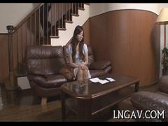 Stars videotape recording category asian_woman (308 sec). Whore in bondage sucks on shlong.