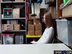 XXX sensual video category teen (360 sec). Slender shoplifting teen made a deal with a security guy.