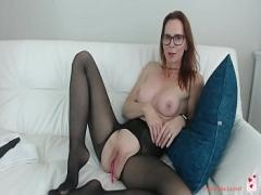 XXX film category cam_porn (5420 sec). my red-haired aunt shows her new nylons in front of the camera.