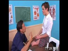 Super pornography category teen (307 sec). Worshipped teen chick delighting fuckmate with fellatio.