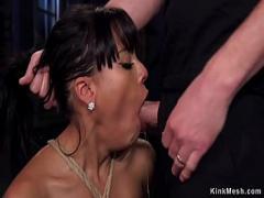 Genial video category cumshot (307 sec). Deep throat busty Latina trainee fucked.