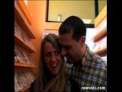 Adult seductive video category cumshot (574 sec). Blonde Slut Gets Load Of Cum Facial At A Video Store.